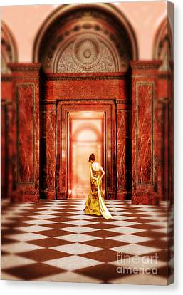Lady In Golden Gown Walking Through Doorway Canvas Print by Jill Battaglia