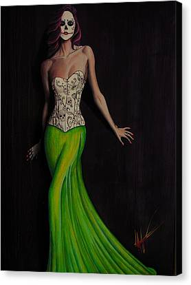 Lady In Green Canvas Print by Aaron  Montoya