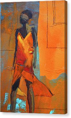 Canvas Print featuring the painting Lady In Orange by Nancy Merkle