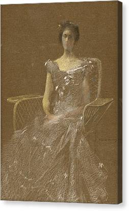 Lady In Rattan Armchair Canvas Print by Thomas Wilmer Dewing