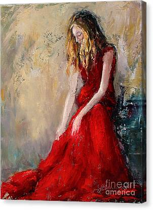 Lady In Red 2 Canvas Print