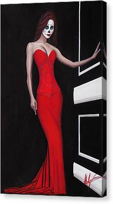 Lady In Red Canvas Print by Aaron  Montoya
