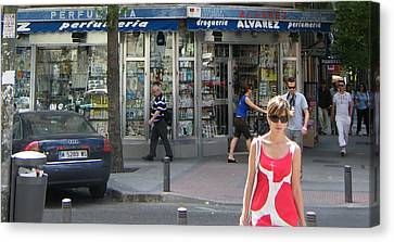 Lady In Red And White On Gaztambide Street - Madrid Canvas Print by Thomas Bussmann