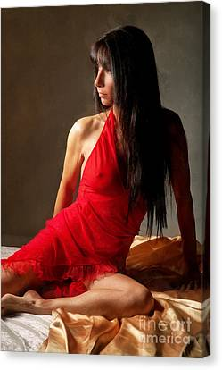 Lady In Red Canvas Print by Naman Imagery