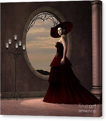 Lady In Red Dress Canvas Print by Corey Ford