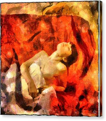 Canvas Print featuring the digital art Lady In Red by Gun Legler