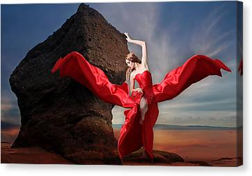 Canvas Print featuring the mixed media Lady In Red by Marvin Blaine
