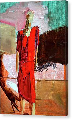 Canvas Print featuring the painting Lady In Red by Nancy Merkle