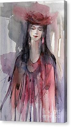 Lady In Red Canvas Print by Natalia Eremeyeva Duarte