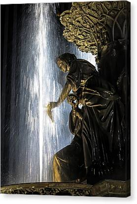 Lady In The Fountain Canvas Print