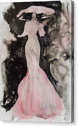 Canvas Print featuring the painting Lady In The Pink Hat by Mary Haley-Rocks