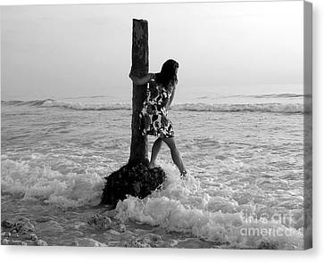 Lady In The Surf Canvas Print by David Lee Thompson