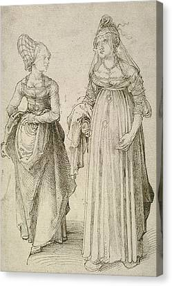 Albrecht Canvas Print - Lady In Venetian Dress Contrasted With A Nuremberg Hausfrau by Albrecht Durer