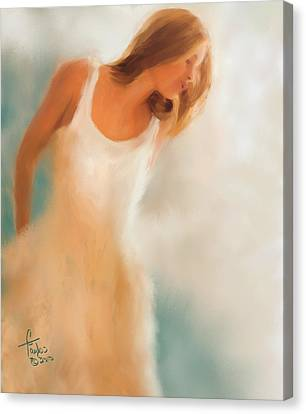 Lady In White Canvas Print by Colleen Taylor
