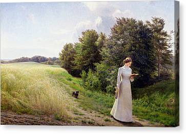Lady In White Reading  Canvas Print by Emilie Caroline Mundt