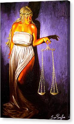 Woman Holding A Balance Canvas Print - Lady Justice Long Scales by Laura Pierre-Louis