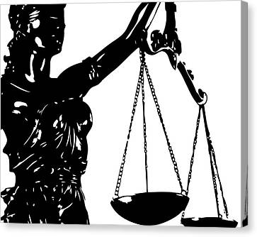 Scales Canvas Print - Lady Justice Poster Black White by Flo Karp