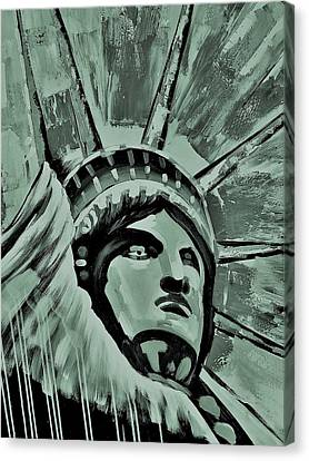 Lady Liberty Copper Green Canvas Print