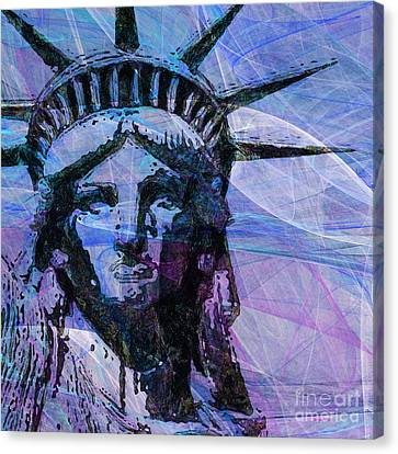 Lady Liberty Head 20150928 Square P180 Canvas Print by Wingsdomain Art and Photography