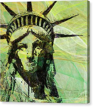 Lady Liberty Head 20150928 Square P28 Canvas Print by Wingsdomain Art and Photography