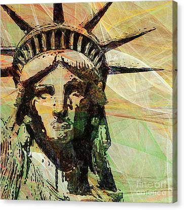 Lady Liberty Head 20150928 Square Canvas Print by Wingsdomain Art and Photography