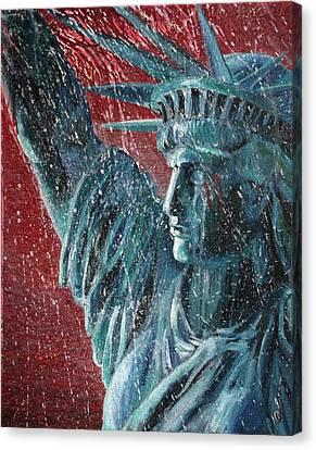Lady Liberty In The Rain Canvas Print by Alan Schwartz