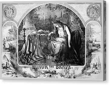 Lady Liberty Mourns During The Civil War Canvas Print by War Is Hell Store