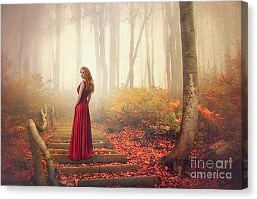 Gown Canvas Print - Lady Of The Golden Forest by Evelina Kremsdorf