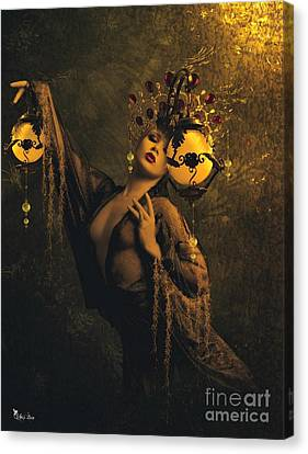 Lady Of The Golden Lamps Canvas Print by Ali Oppy