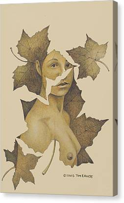Lady Of The Leaf 3 Canvas Print
