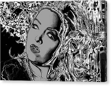 Canvas Print featuring the digital art Lady Of The Night by Holly Ethan