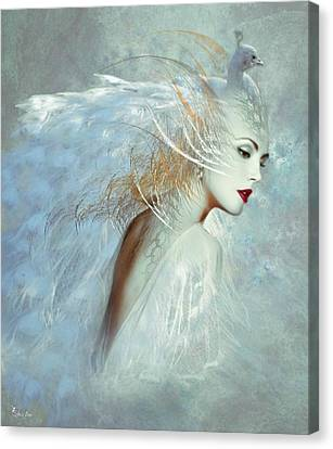 Lady Of The White Feathers Canvas Print