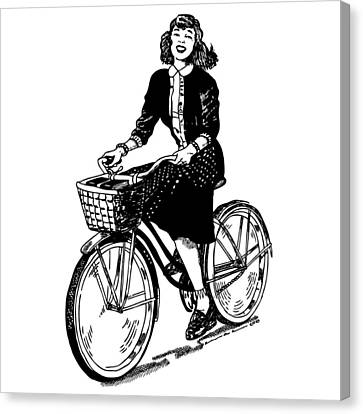 Lady On A Bike Canvas Print