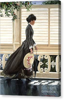 Canvas Print featuring the painting Lady On A Porch by Michael Swanson