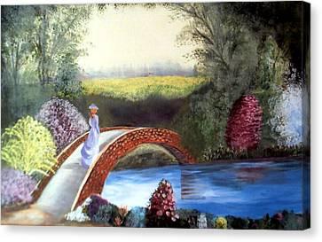 Lady On The Bridge Canvas Print by Julie Lamons