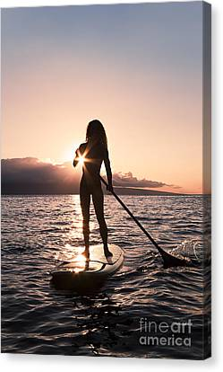 Lady Paddling Canvas Print by Dave Fleetham - Printscapes