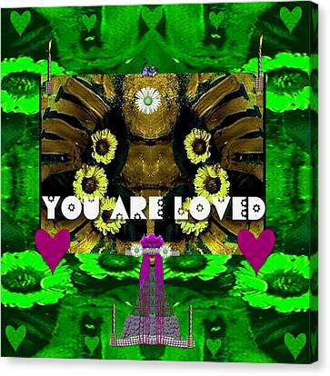Lady Panda Says You Are Loved Canvas Print