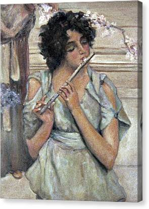 Lady Playing Flute Canvas Print