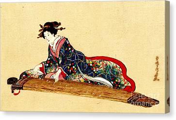 Lady Playing Koto 1878 Canvas Print