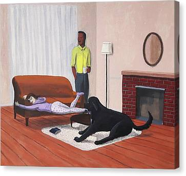 Lady Pulling Mommy Off The Couch Canvas Print