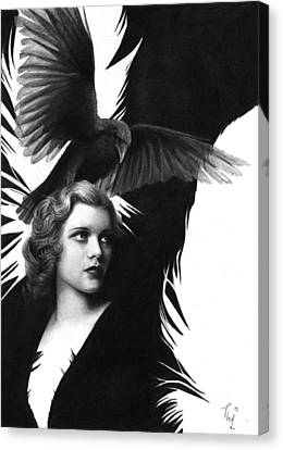Lady Raven Surreal Pencil Drawing Canvas Print by Thubakabra