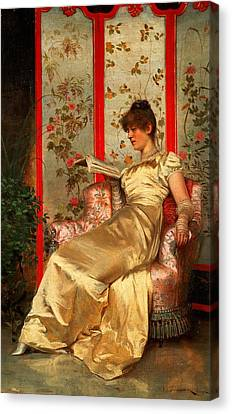 Lady Reading Canvas Print