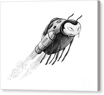 Ipad Design Canvas Print - Lady Rocket Bug by Michael Ciccotello