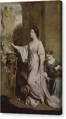 Lady Sarah Bunbury Sacrificing To The Graces Canvas Print by Joshua Reynolds