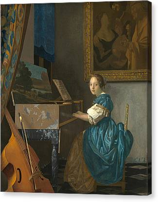 Lady Seated At A Virginal Canvas Print