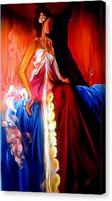 Lady Sitting On The Royal Bed Canvas Print by Xafira Mendonsa