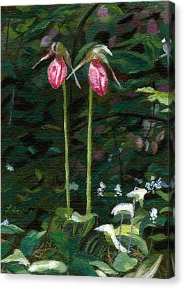Canvas Print featuring the painting Lady Slipper by Lynne Reichhart