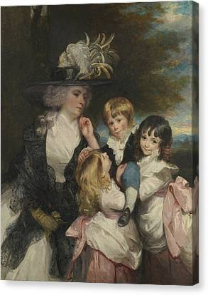 Lady Smith And Her Children Canvas Print by Joshua Reynolds