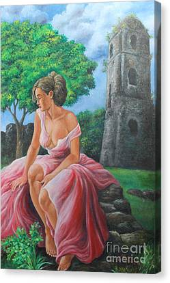 Lady Tourist In Bicol 2 Canvas Print by Manuel Cadag