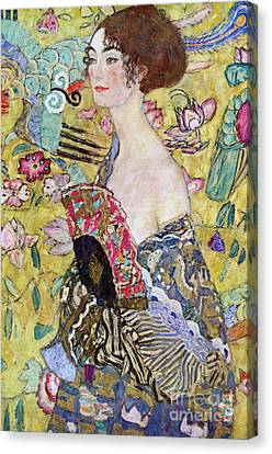 Lady With A Fan Canvas Print by Gustav Klimt